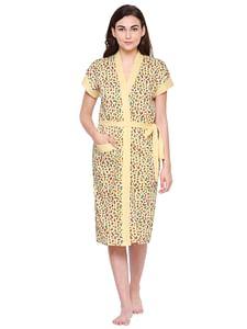 Secret Wish Women's Yellow Cotton Bathrobe