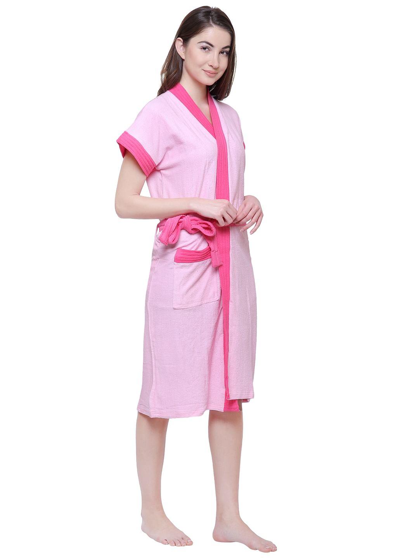 Secret Wish Women's Solid Baby Pink Cotton Bathrobe