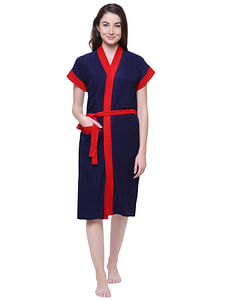 Secret Wish Women's Solid Navy Blue Cotton Bathrobe