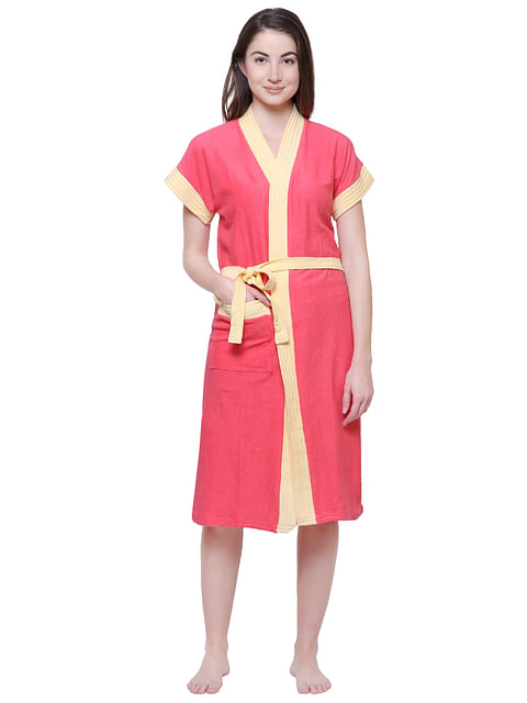 Secret Wish Women's Solid Orange Cotton Bathrobe
