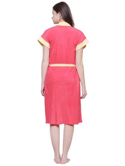 Secret Wish Women's Solid Orange Cotton Bathrobe