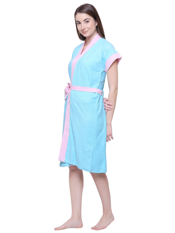 Secret Wish Women's Solid Sky Blue Cotton Bathrobe
