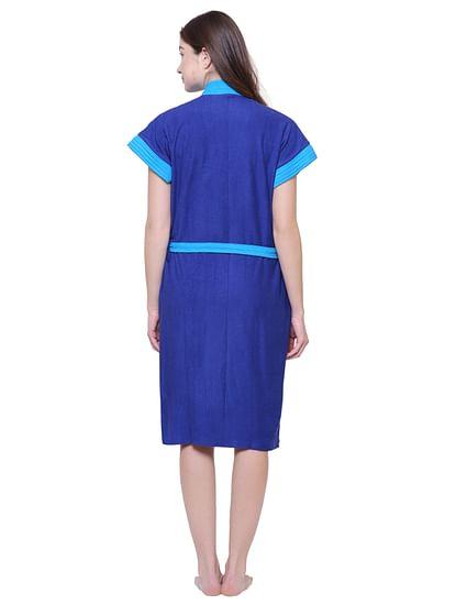 Secret Wish Women's Solid Royal Blue Cotton Bathrobe