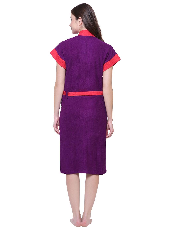 Secret Wish Women's Solid Purple Cotton Bathrobe