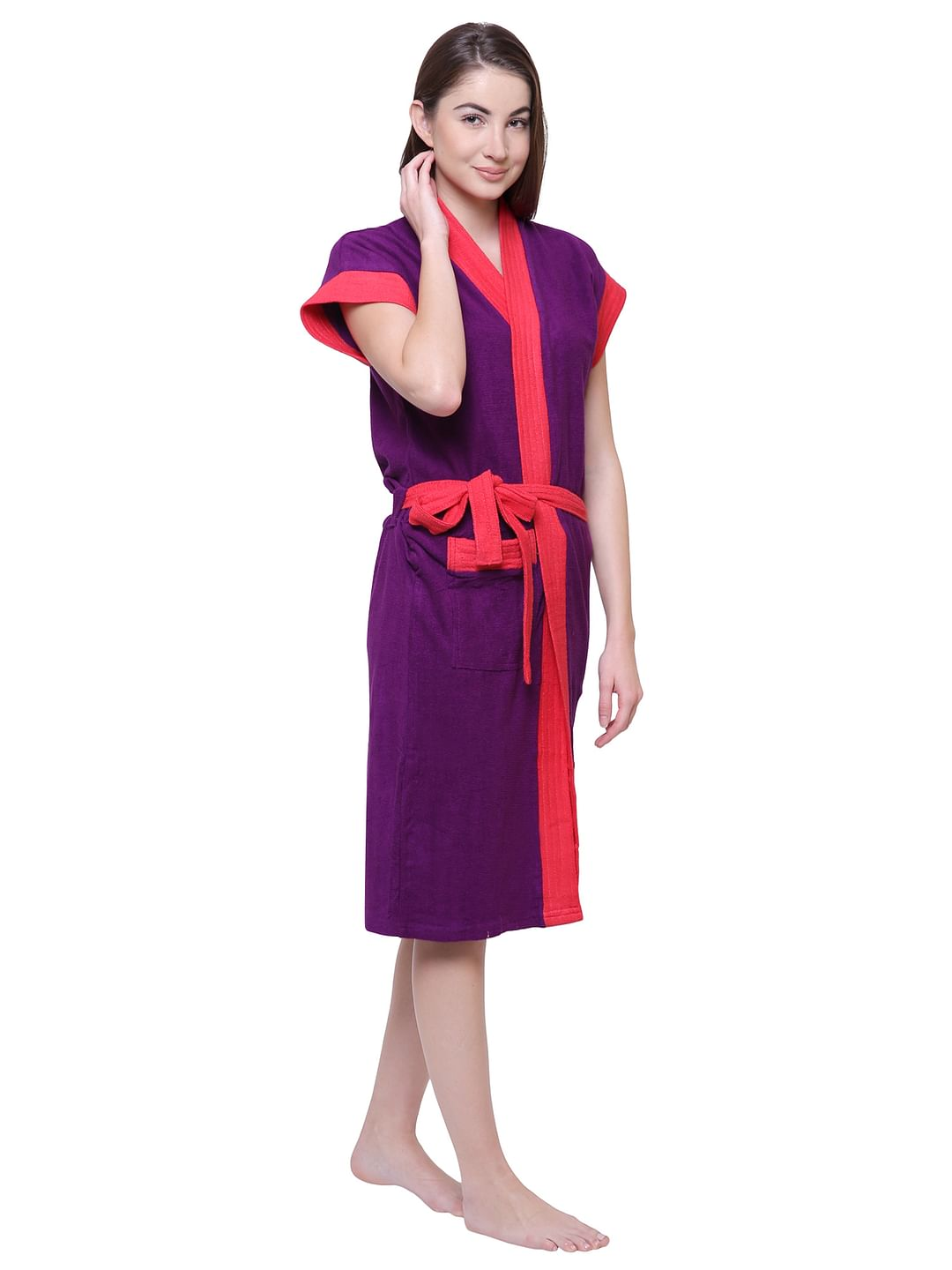 Secret Wish Women's Solid Purple Cotton Bathrobe