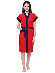 Secret Wish Women's Solid Red Cotton Bathrobe