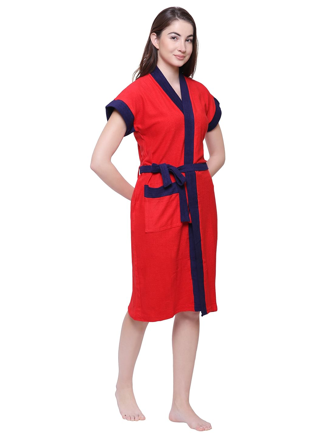 Secret Wish Women's Solid Red Cotton Bathrobe