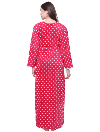 Secret Wish Women's Printed Dark Pink Woolen Nighty