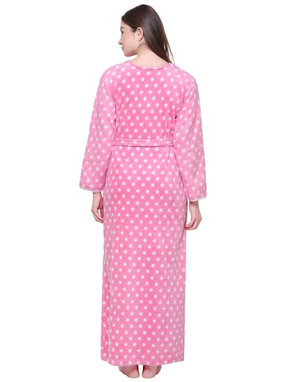 Secret Wish Women's Printed Baby Pink Woolen Nighty