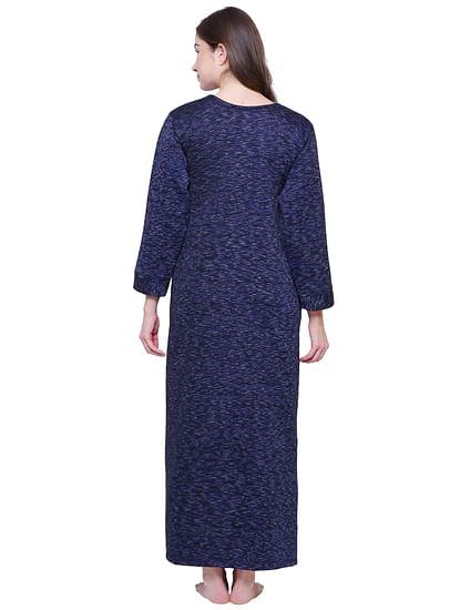 Secret Wish Women's Printed Royal Blue Woolen Nighty