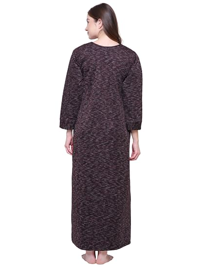 Secret Wish Women's Printed Maroon Woolen Nighty