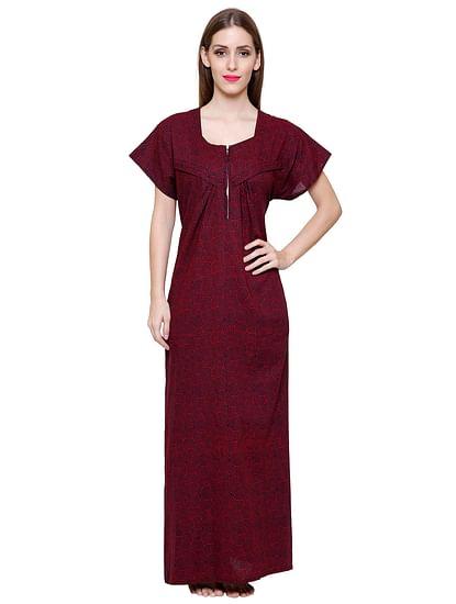 Secret Wish Women's Navy-Red Printed Cotton Maxi Nightdress