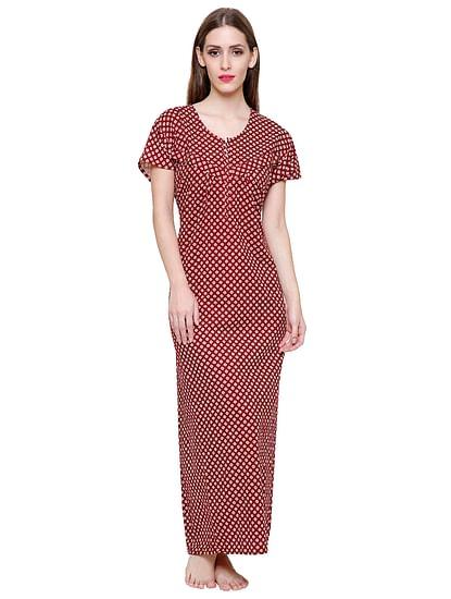 Secret Wish Women's Maroon Printed Cotton Maxi Nightdress