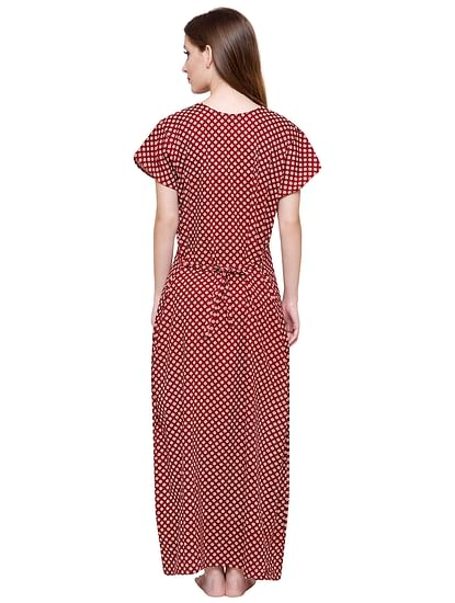 Secret Wish Women's Maroon Printed Cotton Maxi Nightdress