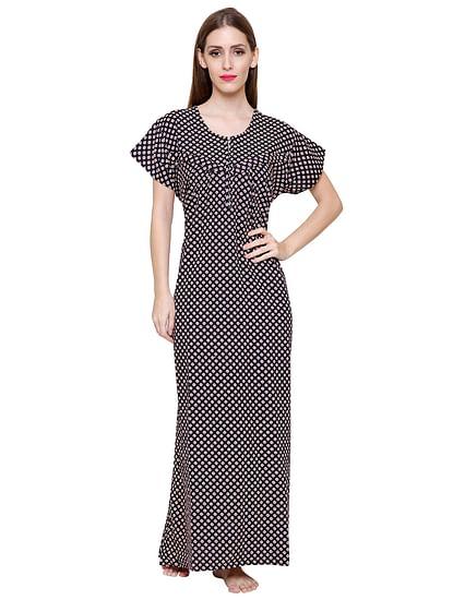 Secret Wish Women's Navy Printed Cotton Maxi Nightdress