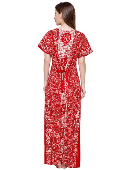 Secret Wish Women's Red-White Cotton Printed Maxi Nightdress