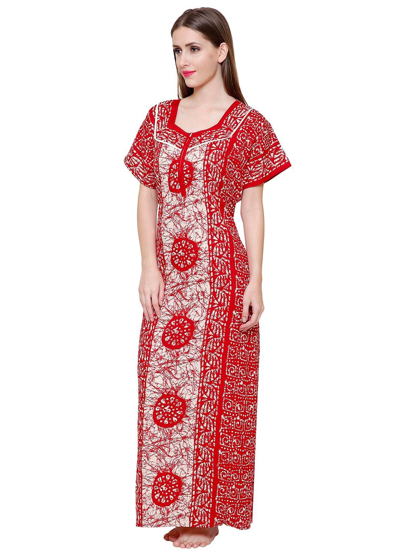 Secret Wish Women's Red-White Cotton Printed Maxi Nightdress