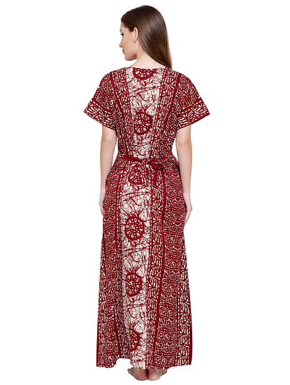 Secret Wish Women's Maroon-White Cotton Printed Maxi Nightdress
