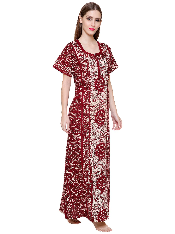 Secret Wish Women's Maroon-White Cotton Printed Maxi Nightdress