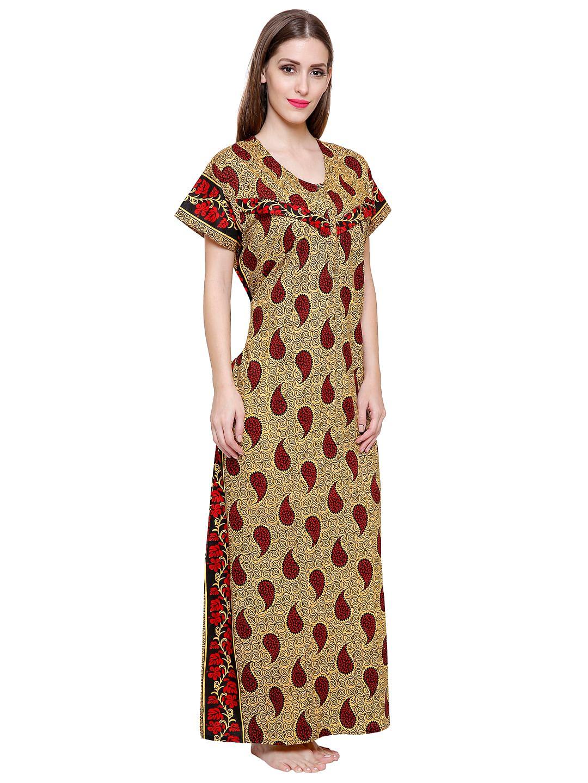 Secret Wish Women's Cotton Red Maternity Nighty