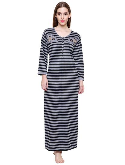 Secret Wish Women's Grey-Black Striped Woolen Nightdress
