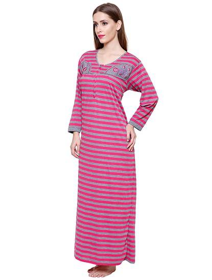 Secret Wish Women's Woolen Pink Striped Nighty (Free Size)