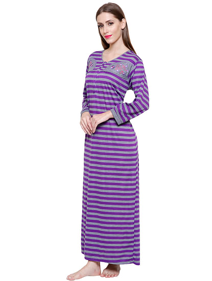 Secret Wish Women's Purple-Grey Striped Woolen Nightdress