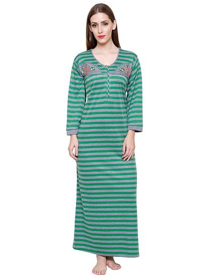 Secret Wish Women's Woolen Green Striped Nighty (Free Size)
