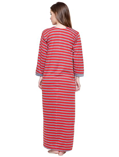 Secret Wish Women's Red-Grey Striped Woolen Nightdress