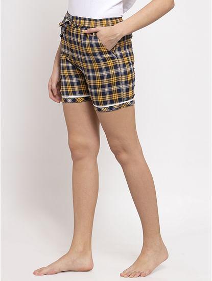 Secret Wish Women's Yellow Cotton Checked Shorts