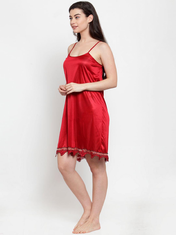 Secret Wish Women's Red Solid Satin Babydoll (Free Size)