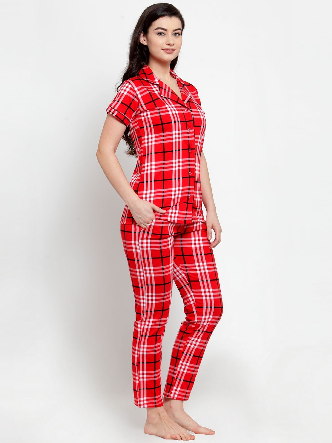 Secret Wish Women's Red Cotton Checked Nightsuit