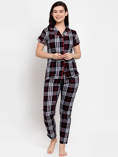 Secret Wish Women's Black Cotton Checked Nightsuit
