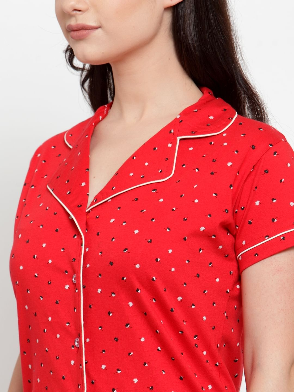 Secret Wish Women's Red Cotton Printed Nightsuit