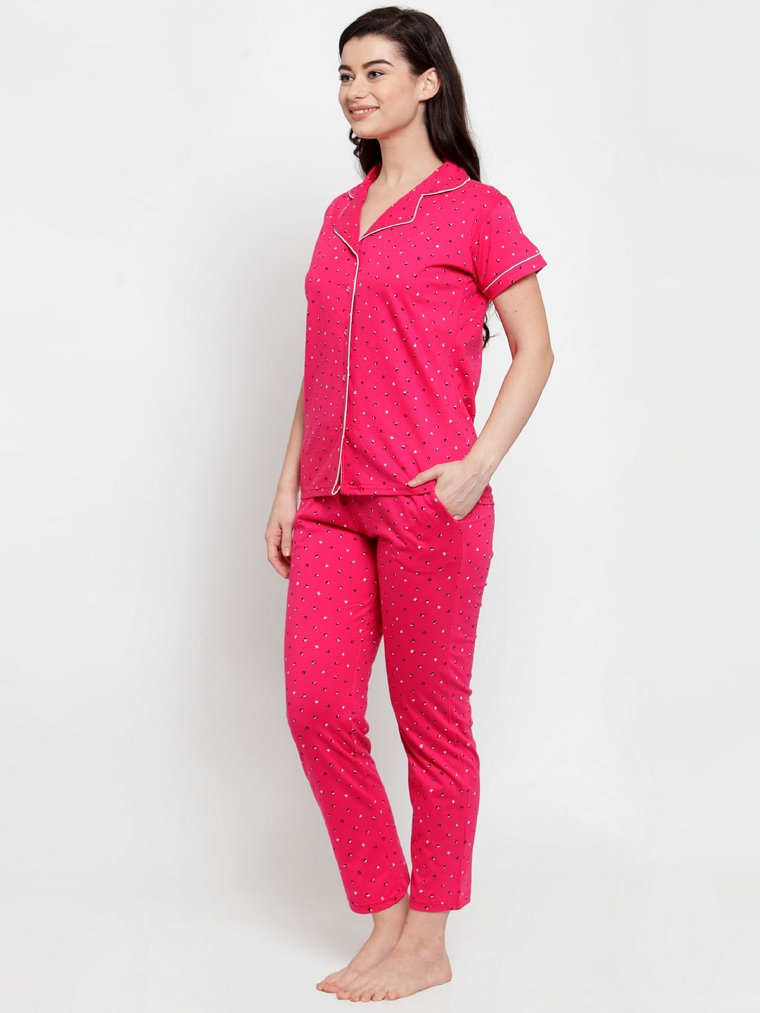 Secret Wish Women's Pink Cotton Printed Nightsuit