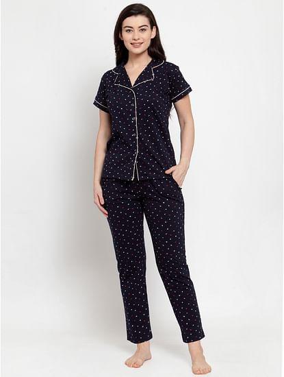 Secret Wish Women's Navy Blue Cotton Printed Nightsuit
