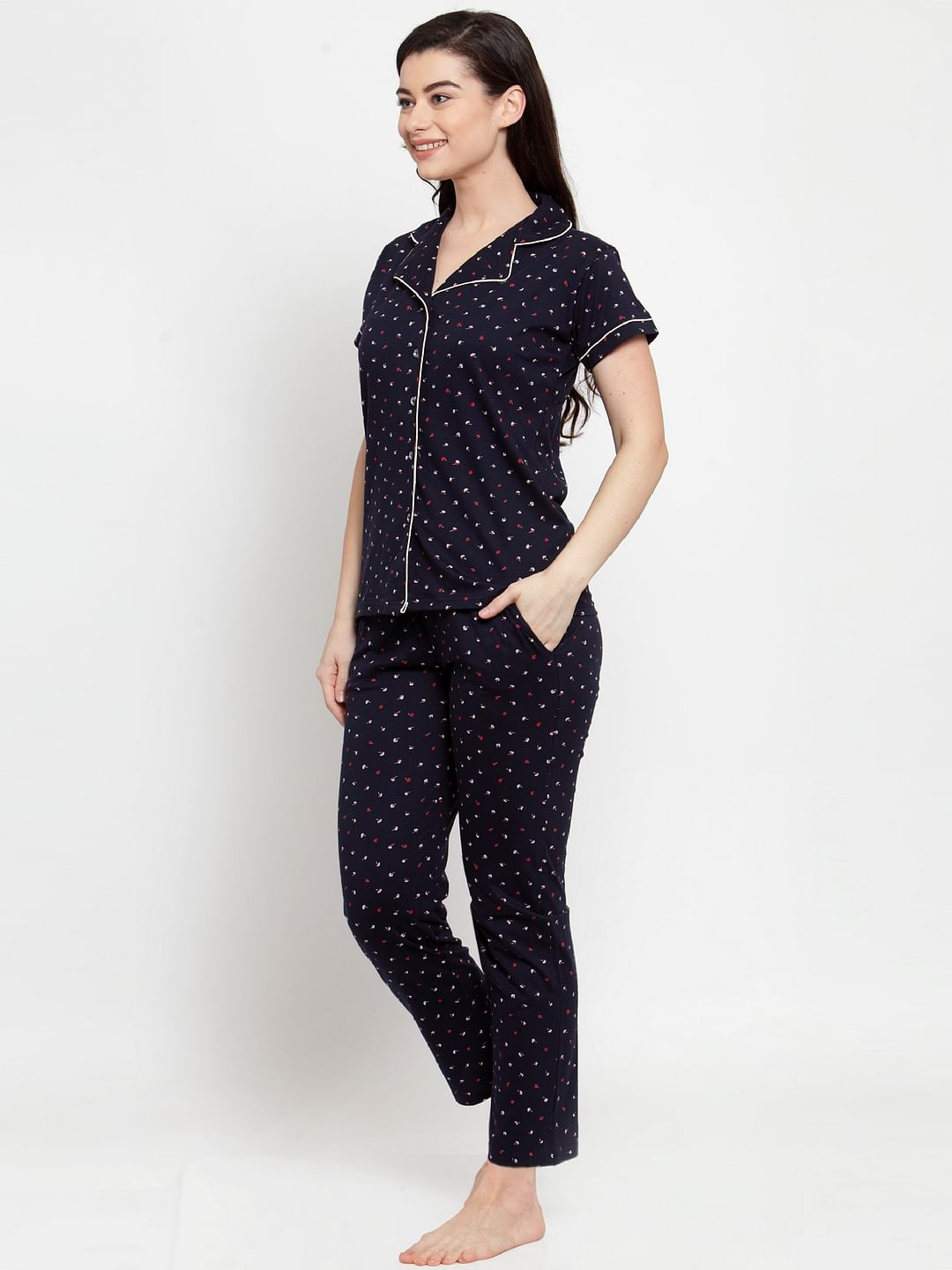 Secret Wish Women's Navy Blue Cotton Printed Nightsuit