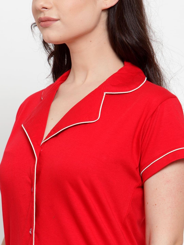 Secret Wish Women's Red Cotton Solid Nightsuit