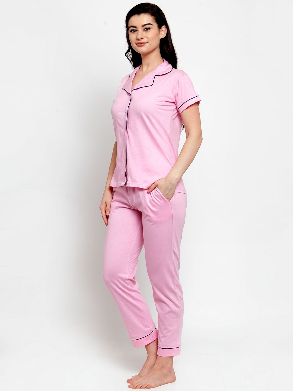 Secret Wish Women's Light Pink Cotton Solid Nightsuit
