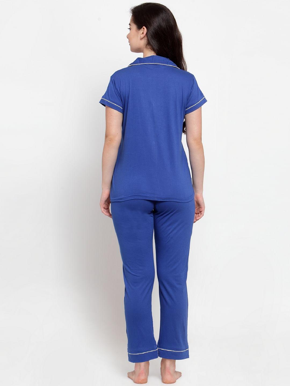 Secret Wish Women's Blue Cotton Solid Nightsuit