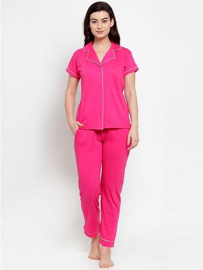 Secret Wish Women's Pink Cotton Solid Nightsuit