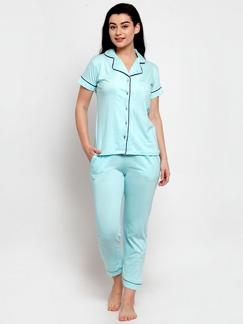 Secret Wish Women's Turquoise Blue Cotton Solid Nightsuit