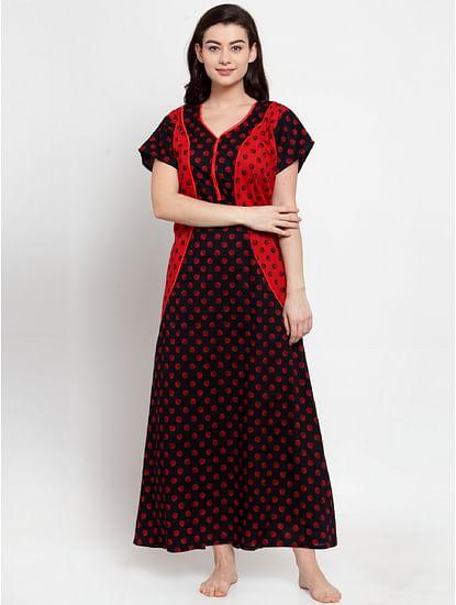 Secret Wish Women's Navy-Red Cotton Printed Nighty (Free Size)