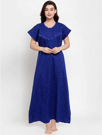 Secret Wish Women's Blue Cotton Printed Maternity Nighty (Free Size)