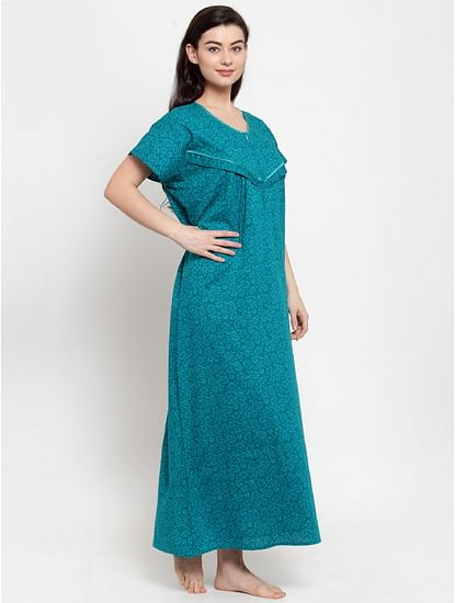 Secret Wish Women's Turquoise Blue Cotton Printed Maternity Nighty (Free Size)
