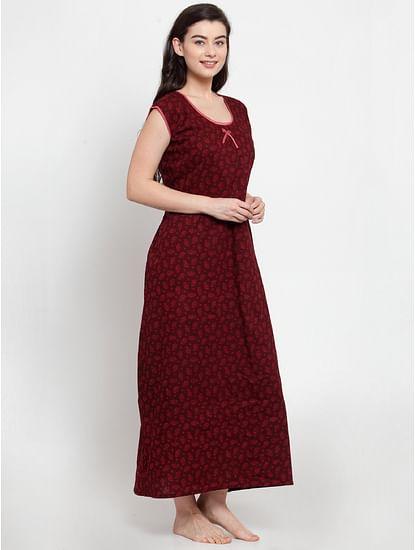 Secret Wish Women's Burgundy Cotton Printed Nighty (Free Size)