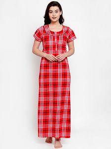 Secret Wish Women's Red Cotton Checked Nighty (Free Size)