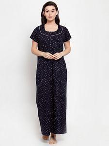 Secret Wish Women's Navy Blue Cotton Printed Nighty (Free Size)