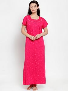 Secret Wish Women's Pink Cotton Printed Nighty (Free Size)