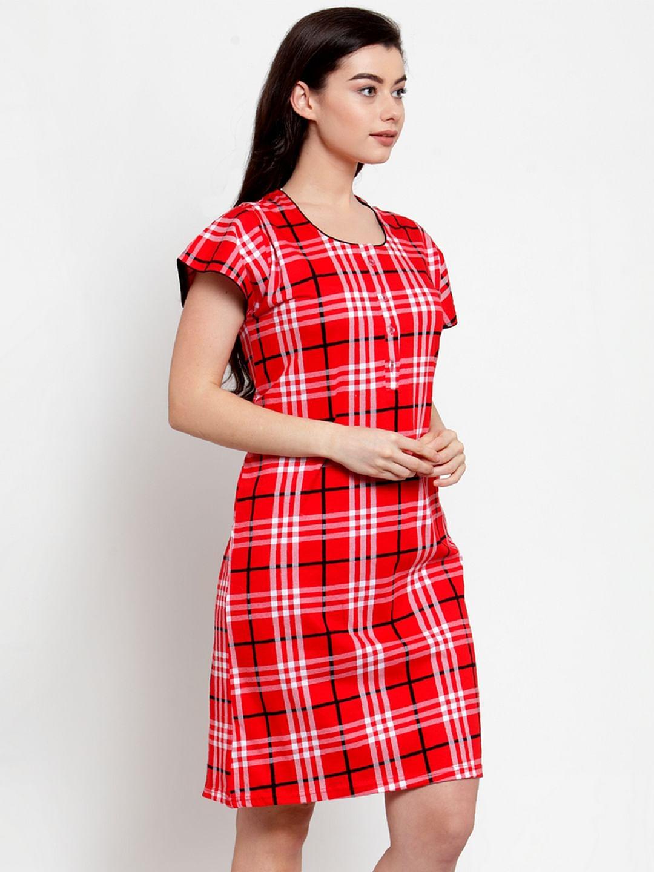Secret Wish Women's Red Cotton Checked Short Nightdress (Free Size)